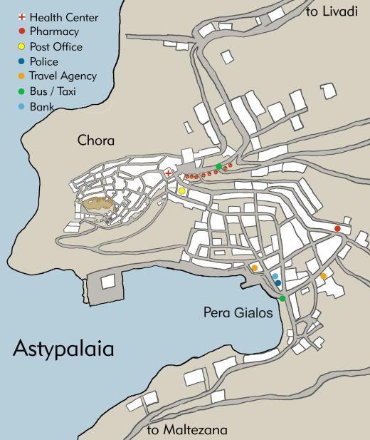 Map Chora Peragialos Astypalaia Astypalaia Astypalea